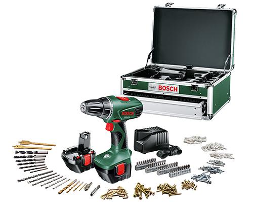 Akku-Bohrschrauber Bosch PSR 12-2 mit 2. Akku und 241-teiliger Toolbox für 119 € - 15% sparen