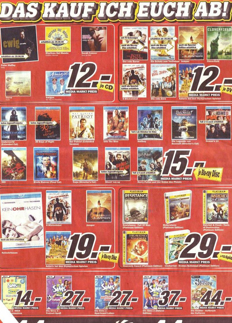 [Blu-ray] Blu-rays für 15€ im Media Markt Schwäbisch Hall