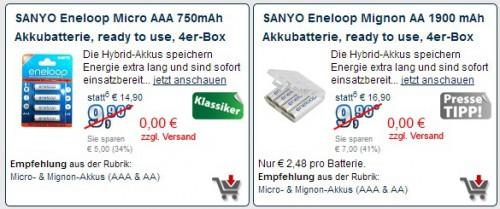 Cool! 10 Euro Pearl Gutschein ohne Mindestbestellwert - 4x eneloop Akkus für 0 € + 4,90 € Versand