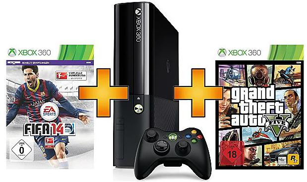 Xbox 360 Slim (250 GB) + FIFA 14 + GTA 5 für 249 € bei Saturn - 17% sparen