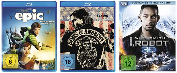 Amazon Tagesangebote mit I, Robot (3D Blu-ray) für 9,97 € oder Sons of Anarchy Staffel 1 (Blu-ray) für 12,97 €