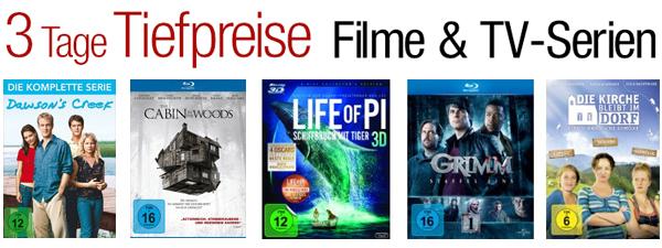 3 Tage Tiefpreise mit Filmen und TV-Serien bei Amazon - z.B. 3D Blu-rays ab 9,97 €