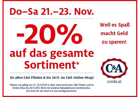 C&A Österreich: 20% Rabatt auf alles im Online-Shop und den Filialen - bis 24. November *Update*