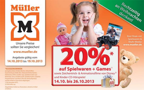 Müller: 20% Rabatt auf Spielwaren und Games vom 14. bis 26. Oktober *Update*