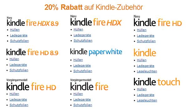Amazon: 20% Rabatt auf ausgewähltes Kindle-Zubehör mit Gutschein *Update* nur noch heute!