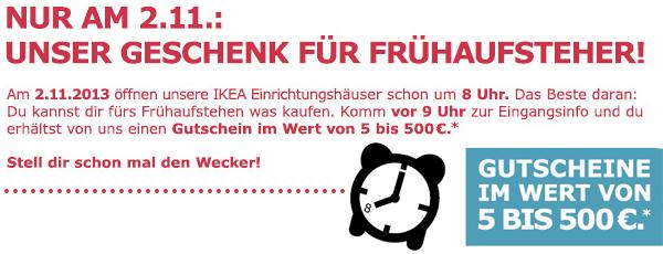 IKEA Österreich: Gutscheine zwischen 5 € und 500 € geschenkt - nur am 02. November zwischen 8 und 9 Uhr