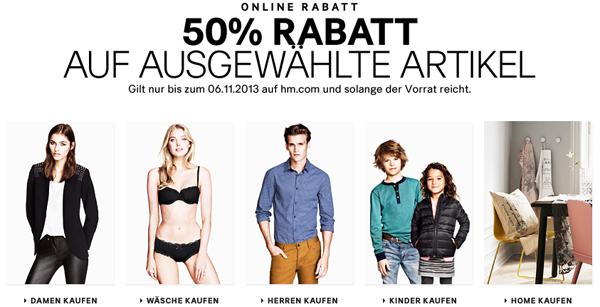 H&M: 50% Rabatt auf ausgewählte Artikel & zusätzlich 25% und 5 € sparen mit Gutscheinen