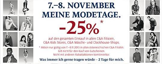 C&A: 25% Rabatt auf den gesamten Einkauf - am 07. und 08. November in allen Filialen
