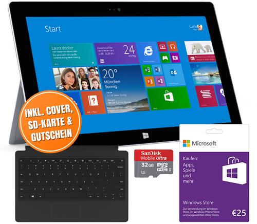 Microsoft Surface 2 (32 GB) + Type Cover 2 + 32 GB SD-Karte + 25 € Gutschein für 452 € - bis zu 19% sparen