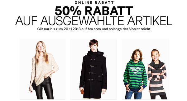 50% Rabatt auf ausgewählte Artikel bei H&M & zusätzlich 25% und 5 € sparen mit Gutscheinen