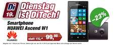 "Windows Phone Huawei Ascend W1 (4"", Dual-Core, 4 GB) für 99 € bei DiTech"