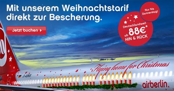 Flying home for Christmas - deutschlandweite Hin- und Rückflüge mit AirBerlin ab 88 €