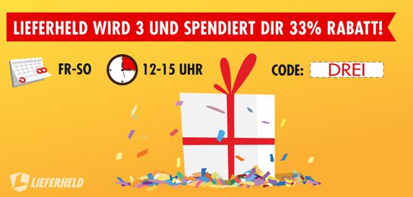 Lieferheld: 33% Rabatt auf Bestellungen vom 22. bis 24. November
