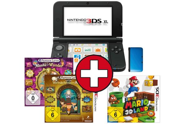 Super! Nintendo 3DS XL + Professor Layton Doppelpack + Super Mario 3D Land für 200 € - 20% sparen