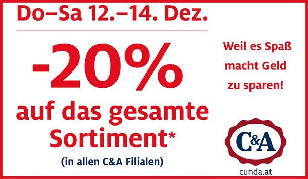 C&A Österreich: 20% Rabatt auf alles in den Filialen - nur vom 12. bis 14. Dezember