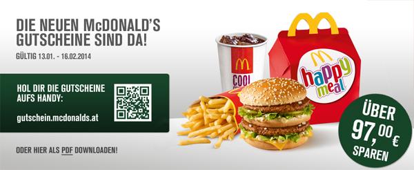 Neues Gutscheinheft für McDonald's Österreich – gültig bis zum 16. Februar 2014