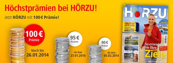 """Fernsehzeitschriften """"Hörzu"""" 13 Monate lang effektiv mit 3,60 € Gewinn lesen"""