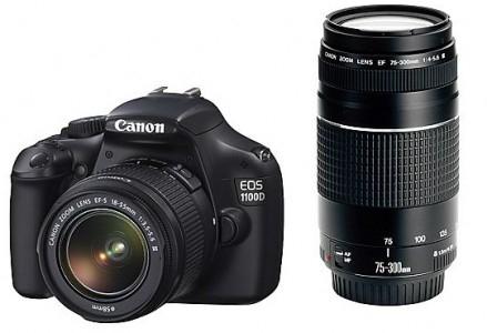 Media Markt AT: DSLR Canon EOS 1100D mit 18-55 mm- und 75-300 mm-Objektiv für 355 €
