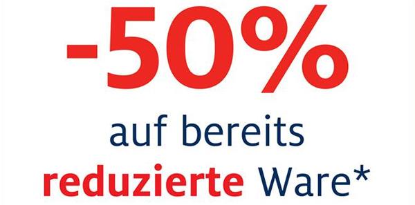 C&A: 50% Rabatt auf reduzierte Waren - nur in den Filialen vom 30. Januar bis 01. Februar