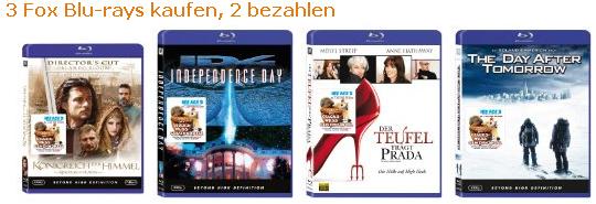 3 Blu-rays kaufen, 2 bezahlen bei Amazon
