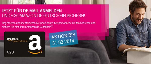 Top! 40 € Amazon-Gutschein für Registrierung einer kostenlosen DE-Mail-Adresse bei der Telekom *Update*