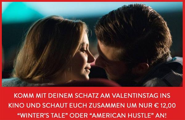 """Cineplexx: Zum Valentinstag """"Winter's Tale"""" oder """"American Hustle"""" zu Zweit für 12 € sehen"""