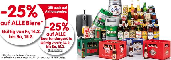 25% Rabatt alle Biere und Beertender-Geräte bei Interspar - nur heute und morgen