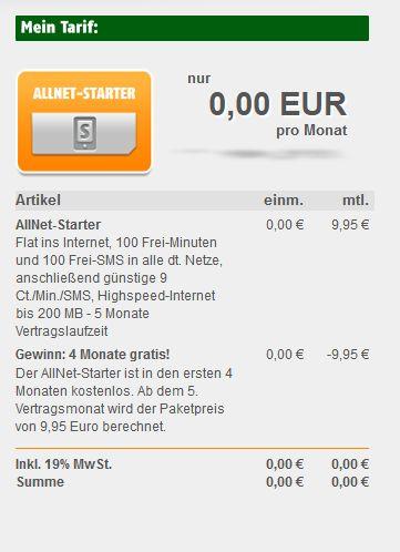 Klarmobil AllNet-Starter 5 Monate für einmalig 9,95 € (100 Freiminuten, 100 Frei-SMS, 200 MB Internet)