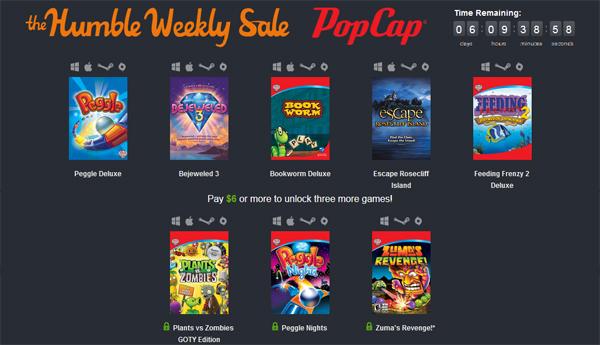 Humble Weekly Sale mit Spielen von PopCap zum selbstgewählten Preis ab 0,72 €
