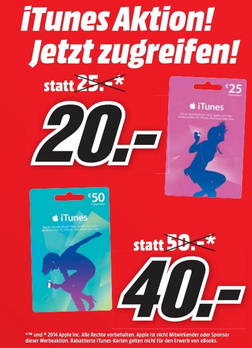 iTunes Karten mit 20% Rabatt bei Media Markt Österreich
