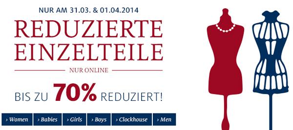 C&A: Sale mit bis zu 70% Rabatt auf ausgewählte Artikel + zusätzlich 10% sparen