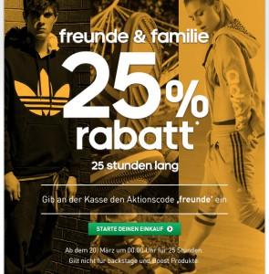 Adidas Österreich und Deutschland - nur heute 25% auf fast alle Artikel im Online-Shop