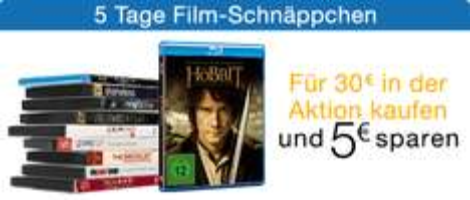 Amazon: 5 Tage Film-Schnäppchen und zusätzlich 5 € Rabatt ab 30 € Einkauf