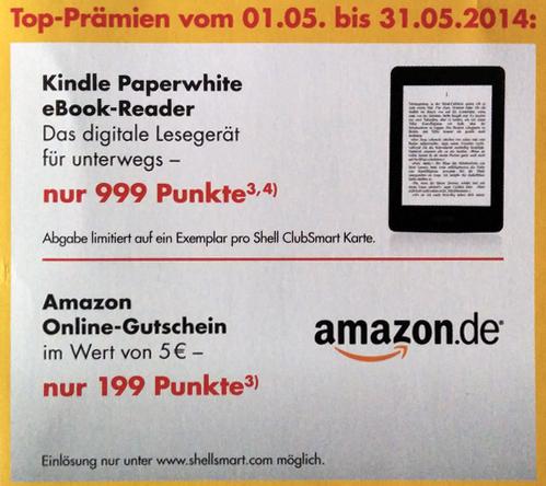 Toll! Kindle Paperwhite für 999 Shell Clubsmart-Punkte (etwa 12 €) erhalten