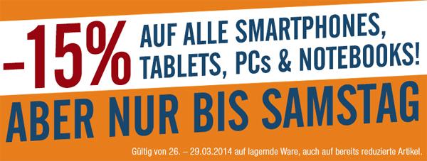 DiTech: 15% Rabatt auf Smartphones, Tablets, PCs und Notebooks