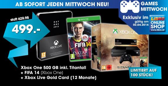 Xbox One Titanfall-Bundle (500 GB) + FIFA 14 + 1 Jahr XBL Gold für 499 € bei Libro