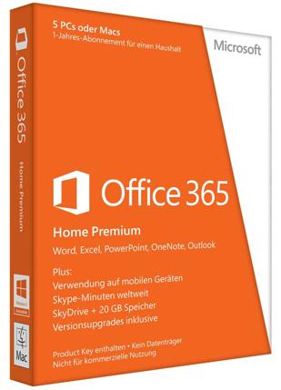 Microsoft Office 365 Home Premium (PC/Mac) für 39,90 € statt 68,90 € - 42% sparen