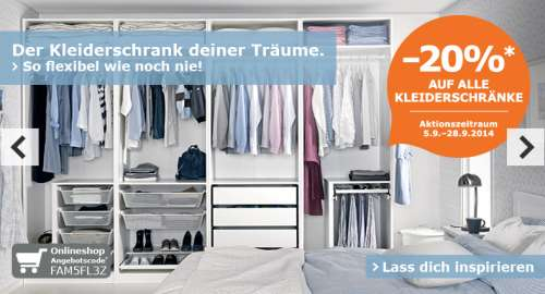 20 rabatt auf alle kleiderschr nke bei ikea online mit aktionscode und lokal f r ikea family. Black Bedroom Furniture Sets. Home Design Ideas