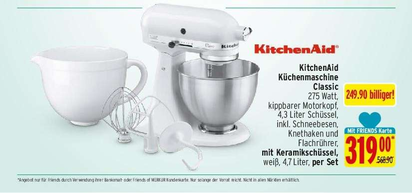 merkur kitchenaid classic wei f r 319 statt 568 90. Black Bedroom Furniture Sets. Home Design Ideas