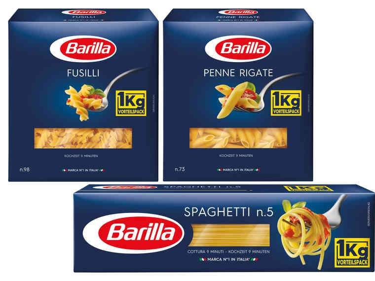 lidl barilla aktion spaghetti penne rigate fusilli je 1kg am samstag 3 2 preisj ger at. Black Bedroom Furniture Sets. Home Design Ideas