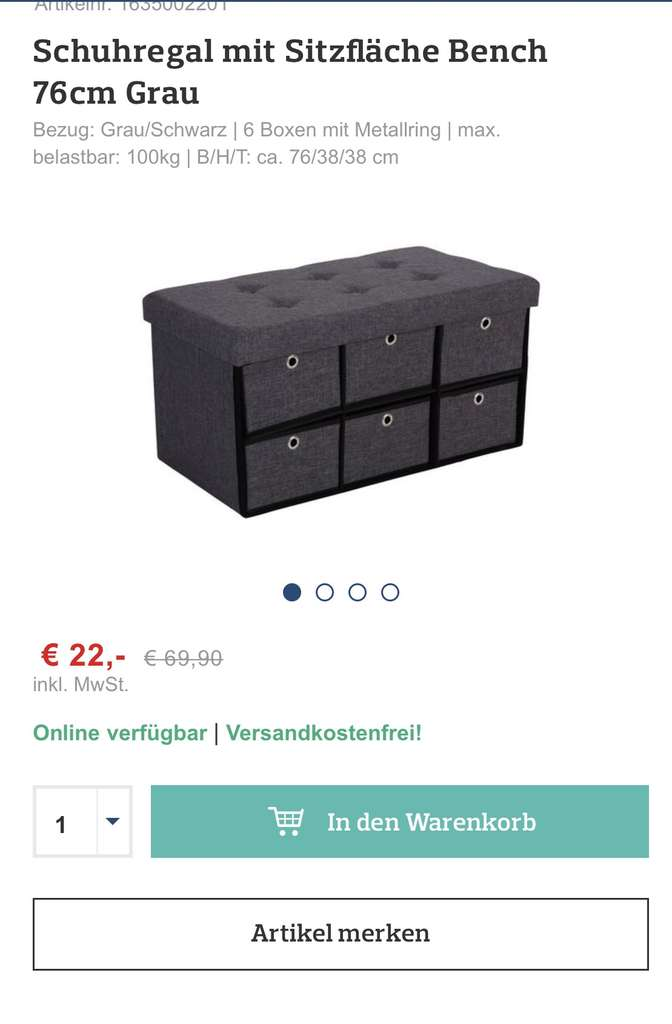 m belix schuhregal mit sitzfl che 76 cm adventkalender nur heute preisj ger. Black Bedroom Furniture Sets. Home Design Ideas