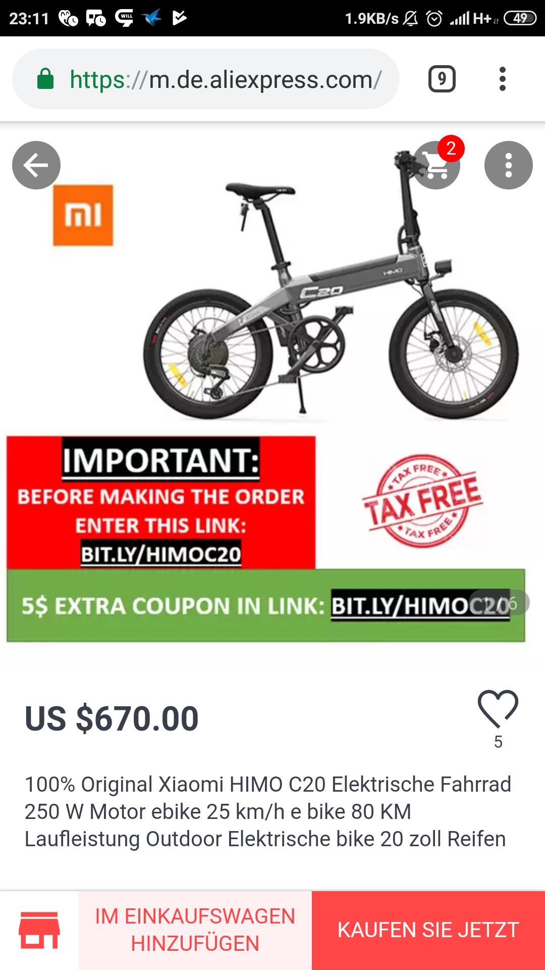 HIMO C20 Falt e Bike, Nachfolger von Qicycle EF1, Fahrrad
