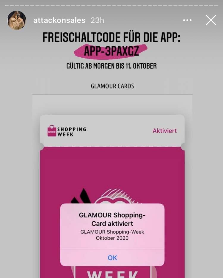 Glamour Shopping Card Freischaltcode