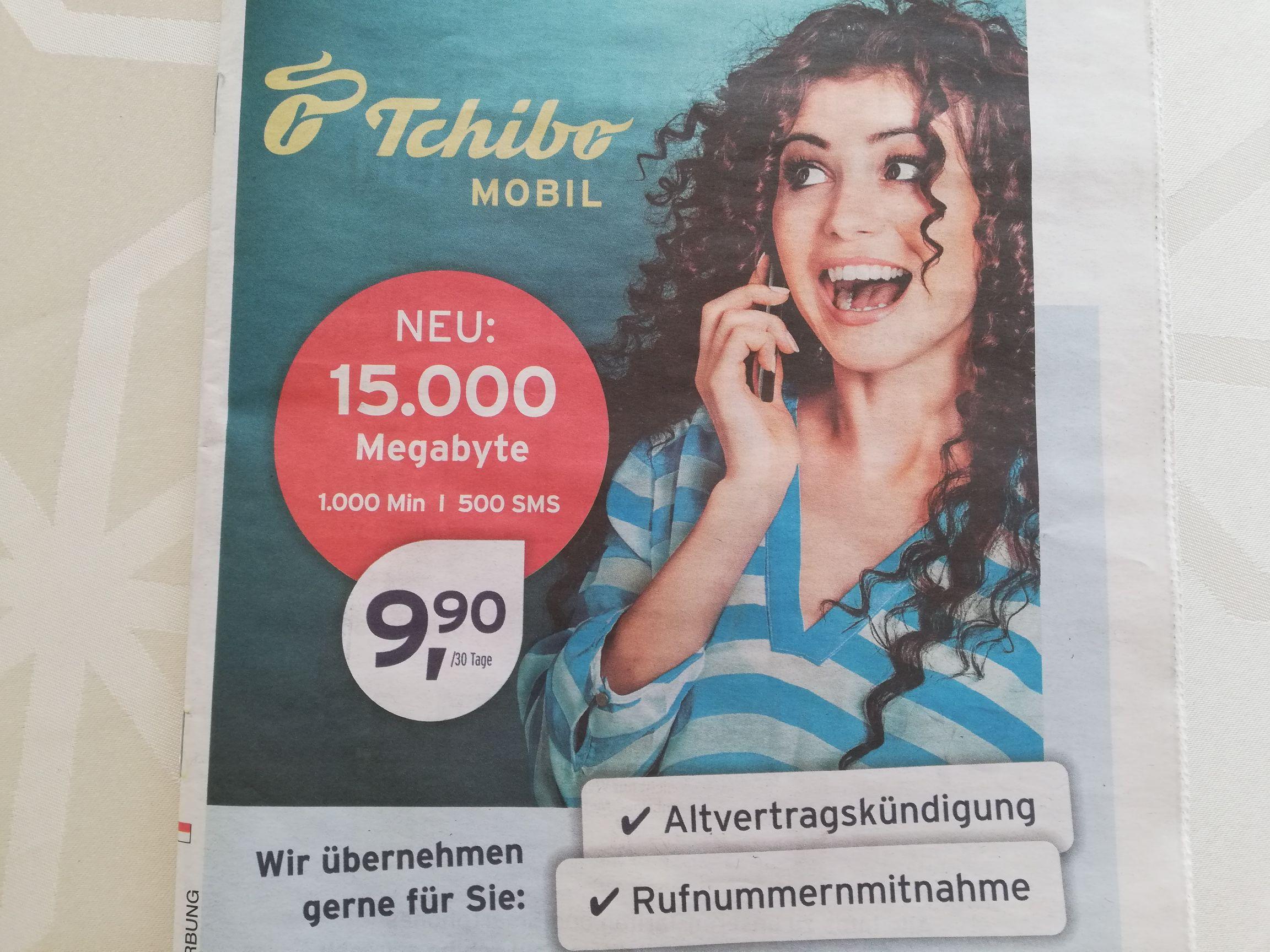 Tchibo Mobil Tarife z.B. 15 GB, 1000 min, 500 SMS für 9,90€   Preisjäger