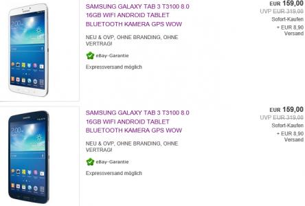 Samsung Galaxy Tab 3 8.0 (16 GB, WiFi) in schwarz oder weiß um 159 € - bis zu 16% sparen