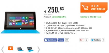 Microsoft Surface RT + Touch Cover 64GB in blau um 250,63 € - bis zu 30% sparen