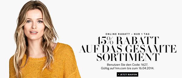 H&M: 15% Rabatt auf den gesamten Warenkorb + weitere 5 € sparen mit Gutschein
