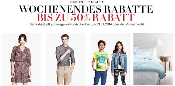 H&M: 50% Rabatt auf ausgewählte Produkte + zusätzlich sparen mit Gutschein