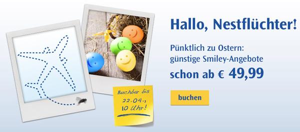 Condor Smiley-Angebote: One-Way-Flüge bis Dienstag ab 49,99 € buchen