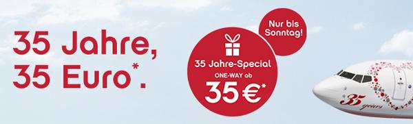 35 Jahre AirBerlin: europaweite One-Way-Flüge jetzt ab nur 35 € buchen